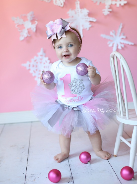Winter ONEderland Pink Snowflake Birthday Tutu Outfit