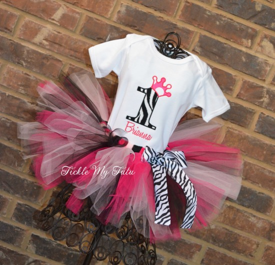 Hot Pink and Zebra Number Crown Birthday Tutu Outfit