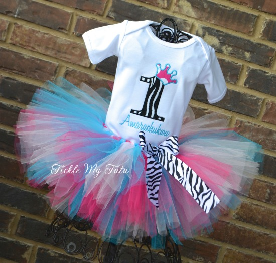 Hot Pink, Light Pink, and Turquoise Zebra Crown Birthday Tutu Outfit